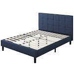 Blackstone Full Upholstered Square Stitched Platform Bed - Navy