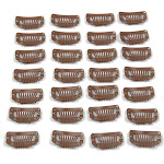 JFFX 20pcs Metal Snap Clips for Hair Extensions DIY Clip in on Hair Extension Wigs 9 Teeth 32mm 1.2G/Pc Black Brown Beige Color (Light Brown)