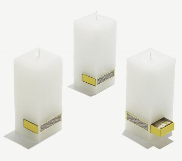 Candle That Comes With A Matchbox Attached