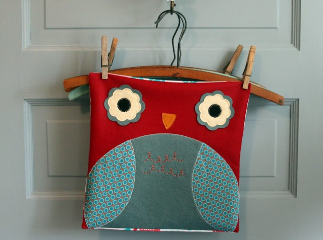 Red and Aqua Owl Pillow Cover