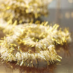 White and Gold Tinsel Garland, 20' long x 1'' wide, Craft Supplies