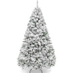 7.5ft Snow Flocked Artificial Premium Hinged Pine Christmas Tree Holiday Decor w/ Metal Stand - White