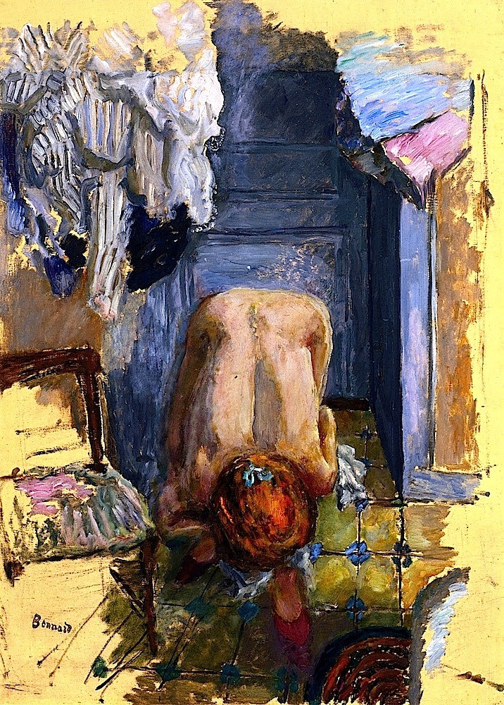 Painting:Pierre Bonnard,Crouching Nude Leaning Forward,1918