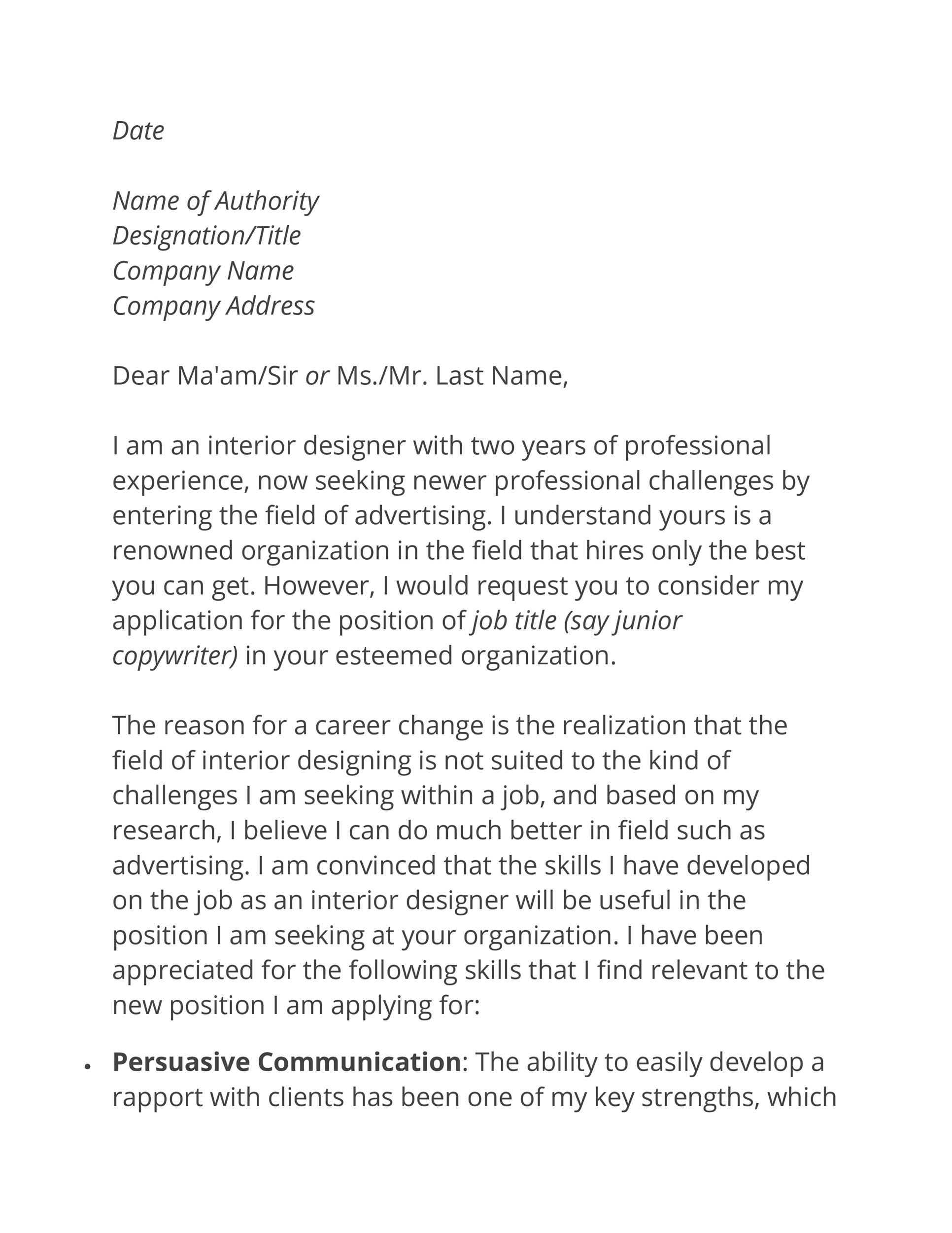 persuasive career change cover letter