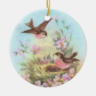 Sweet Birdies Double-Sided Ceramic Round Christmas Ornament