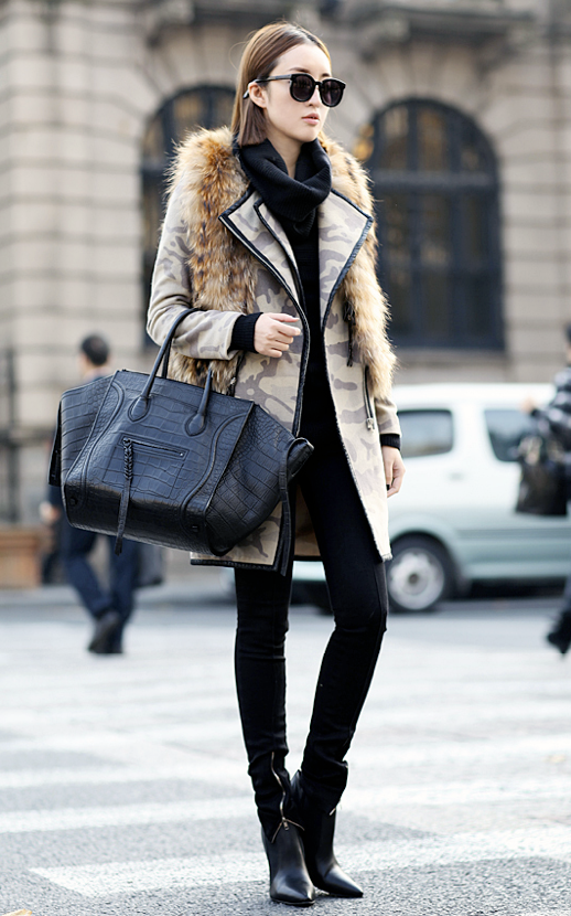 STYLE TROVE TUMBLR FASHION BLOG STREET STYLE OVERSIZED SUNGLASSES CAMO CAMOUFLAGE PRINT JACKET TRENCH LEATHER LINING BLACK ANKLE ZIPPER PANTS CROC EMBOSSED CELINE TOTE PHANTOM BAG FUR GILET VEST BOOTS