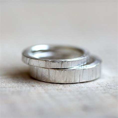 Sterling Silver tree bark wedding ring set   Wedding Rings
