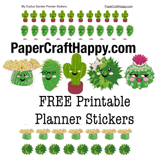 Free Cactus Garden Printable Planner Stickers | Paper Craft Happy