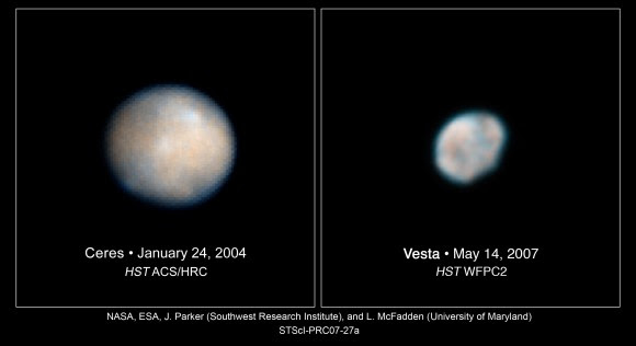 These Hubble Space Telescope images of Vesta and Ceres show two of the most massive asteroids in the asteroid belt, a region between Mars and Jupiter. Credit: NASA/European Space Agency