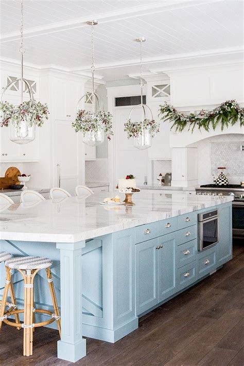 kitchen  white cabinets  light blue island