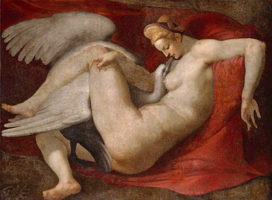43 Works, Leda and the Swan, art from a Greek myth, with footnotes