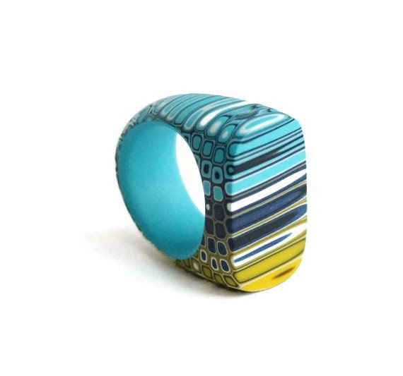 Geometric ring - blue, yellow, turquoise, dark blue - Geometric jewelry