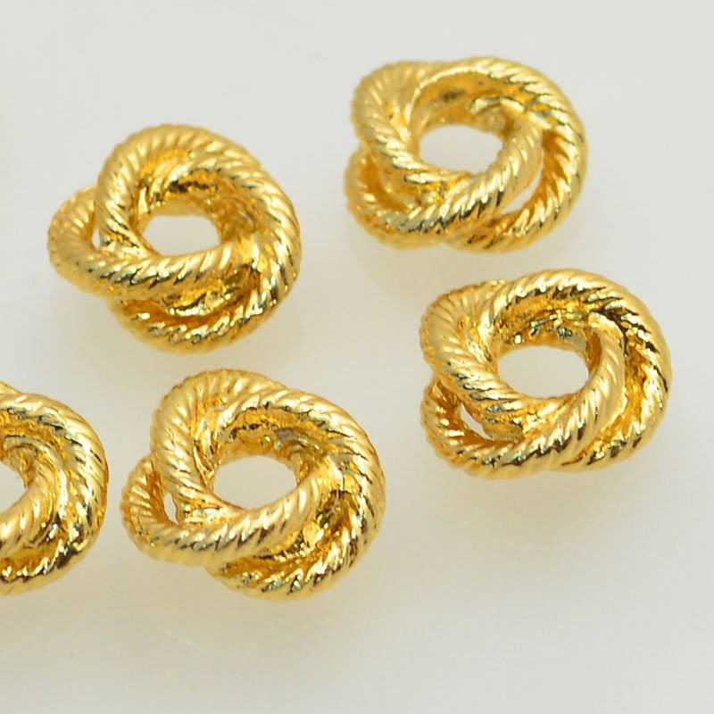 s47723 Metal Bead - 10 mm Love Knot Twined Rings - Bright Gold Plated