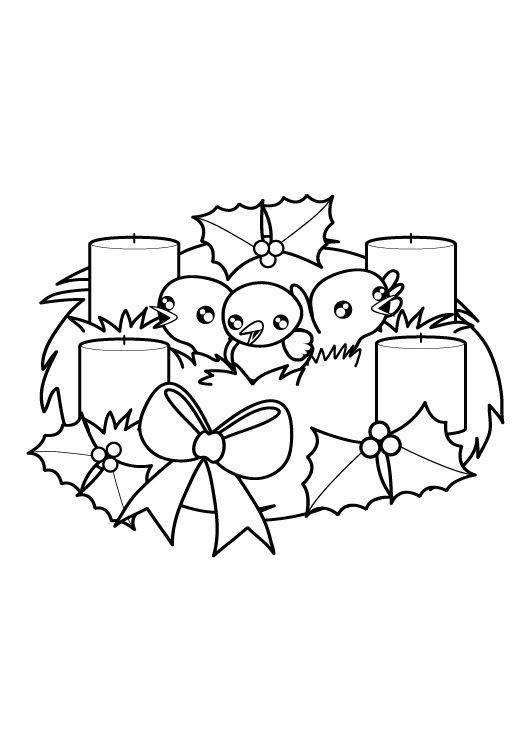 Kostenlose Malvorlage Weihnachten: Adventskranz zum Ausmalen zum Ausmalen