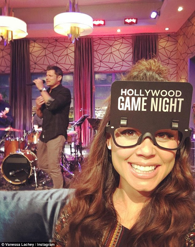 Fun times: Of course, the NBC show is hardly work as their night was filled with fun games, laughter and even a song from Nick