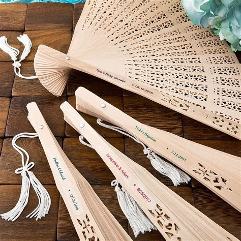 Personalized Carved Sandalwood Folding Hand Fan Favors