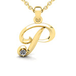Diamond Accent P Swirly Initial Necklace in Yellow Gold (1.8 g) w/ Free 18 inch Cable Chain, by SuperJeweler