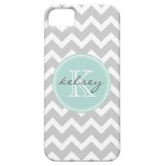 Gray and Mint Chevron Custom Monogram iPhone 5 Cover