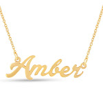 Amber Nameplate Necklace in Gold, 16 Inch Chain by SuperJeweler