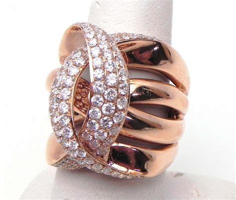Ladies 14k Rose Gold 2.42 Cts. Diamonds Crossing C Wide