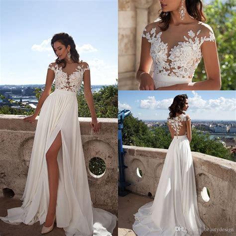 Discount Sexy Elegant A Line Chiffon Beach Wedding Dresses