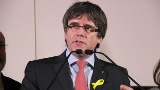 Carles Puigdemont, cap de llista de JxCat, durant una compareixença a Brussel·les el 21-D (ACN)
