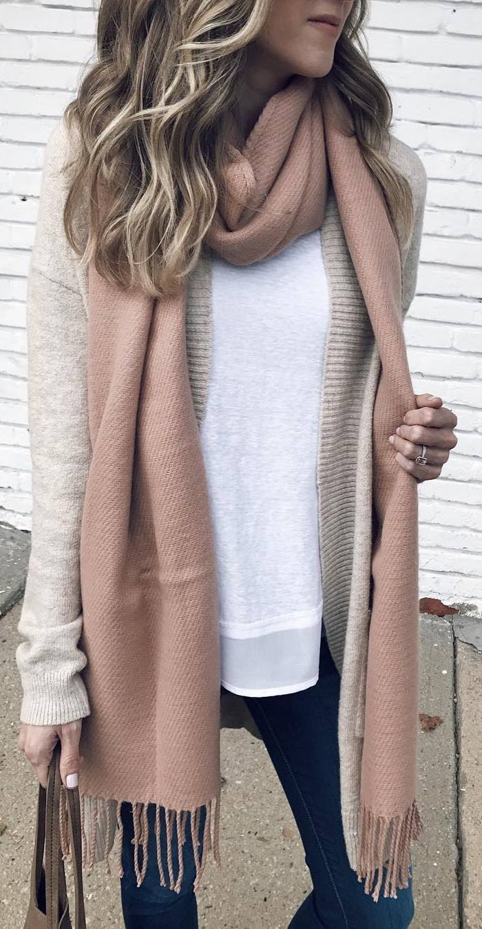 how to style a nude cardi : blush scarf + white tee + bag + skinnies