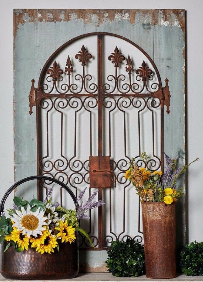 Distressed Vintage French Country Wood Metal Garden Gate ...