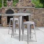 "30"" Round Silver Metal Bar Table Set, 2 Square Seat Backless Stools"