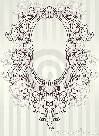 ornate oval frame drawing royalty  stock image
