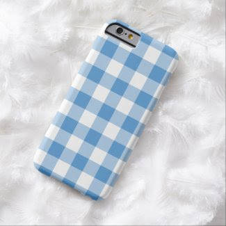 Light Blue and White Gingham Pattern Barely There iPhone 6 Case