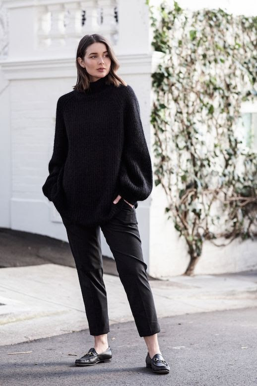 Le Fashion Blog Oversized Black Sweater Black Tailored Pants Black Loafers Via Harper And Harley