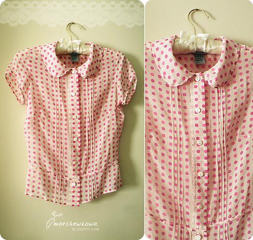 marchewkowa.blogspot.com, j.z., fashion blog, vintage style, silk blouse, Wearhouse, groszki, polka dots, jedwabna bluzka, lumpeks, secondhand, retro