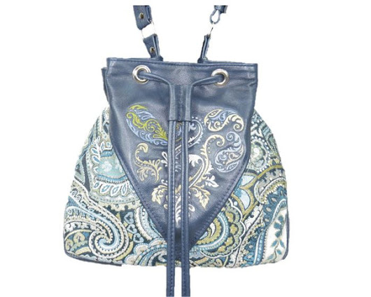Embroidered Navy Blue Leather and Paisley Tapestry Bucket Bag