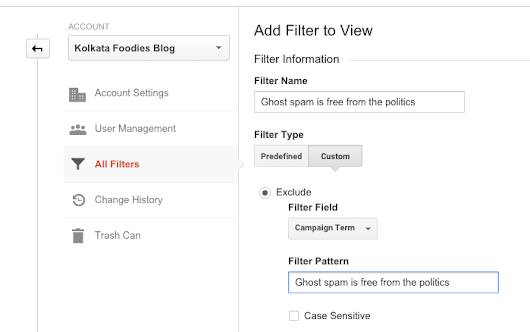 "How to block ""Ghost spam is free from the politics"" keyword spam in Google Analytics"