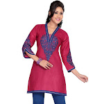 Indian Selections Hot Pink Cotton Kurti / Tunic with Blue Embroidery