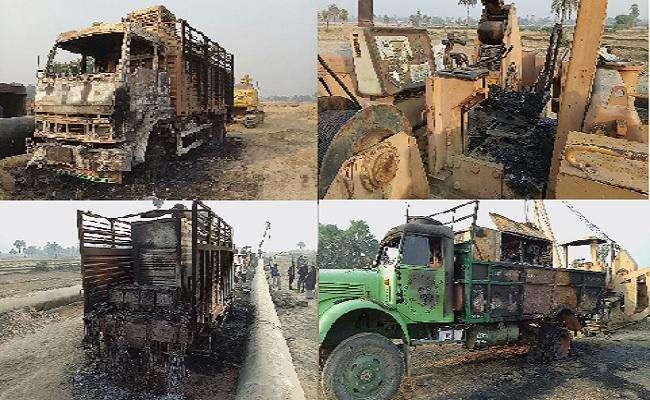 गया में नक्सलियों ने मचाया कोहराम, कई वाहनों को किया आग के हवाले