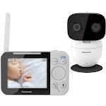 """Panasonic - Long Range Video Baby Monitor and 3.5"""" Screen - Black/White"""