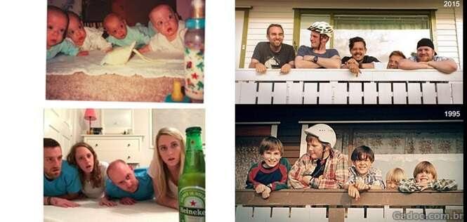 Fotos de família hilariamente recriadas anos depois de terem sido registradas