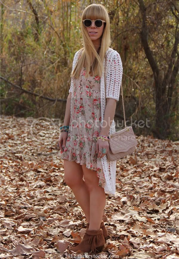 floral high low dress,  Forever 21 crochet cardigan, Bakers Showdown fringe boots, Los Angeles fashion blogger, southern California fashion blog