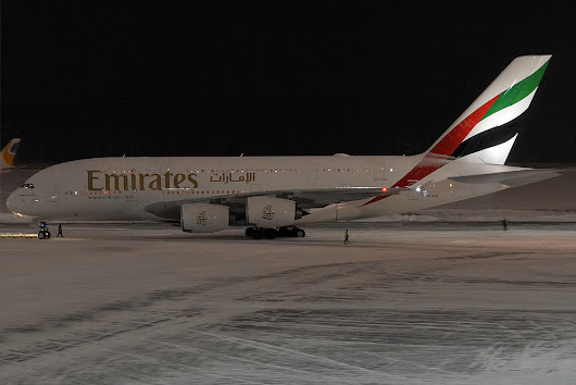 Emirates Airbus A-380-800 over Arabian Sea on Jan 7th 2017, wake turbulence sends business jet in uncontrolled descent