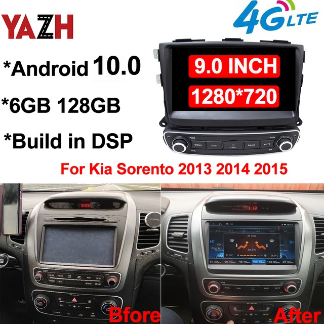 """Limited Offer 6GB 128GB Car Android Auto Radio Multimedia Player For Kia Sorento 2013 2014 2015 With 9.0 IPS GPS Monitor DSP 4G SIM Card SWC"""""""
