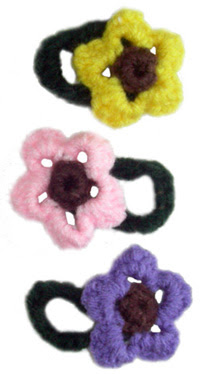 crochet flower-hair-tie