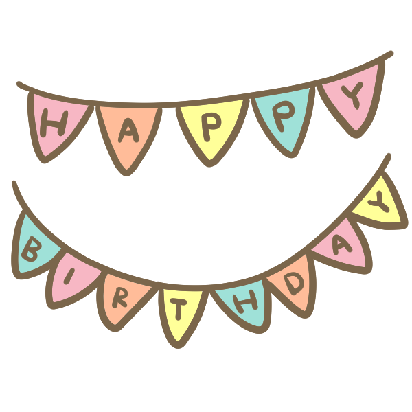 Happybirthdayのガーランドのイラスト かわいいフリー素材が無料の