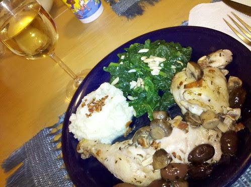 Chicken, Spinach, mashed cauliflower