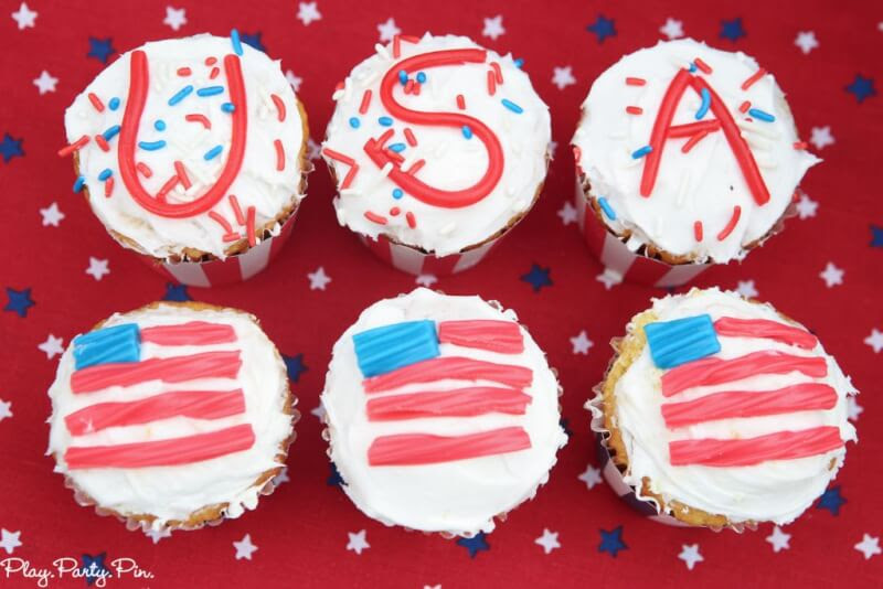 Easy red, white, and blue cupcakes that are perfect for 4th of July or Memorial Day parties!