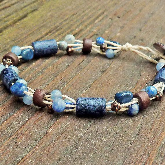 Slate Blue and Copper Bracelet - Sodalite Beads, Copper Beads, Natural Hemp, Multi Strand Bracelet on Etsy, $14.00