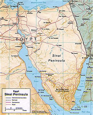 Map of Sinai Peninsula with country borders shown.