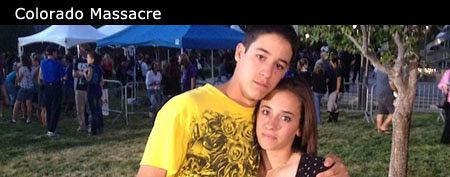 Siblings Brandon and Taryn DiRito at vigil for the Colorado massacre. (Goodwin/Yahoo! News)