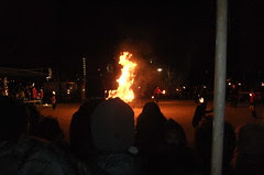 Solstice fire with dancers